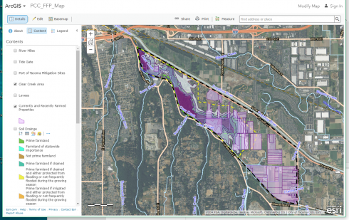Interactive web map of the Clear Creek area showing currently and recently farmed properties as well as water levels from 2009 flooding.